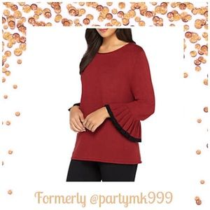 Tops - Bell Sleeve Tunic in Merlot with black accent trim